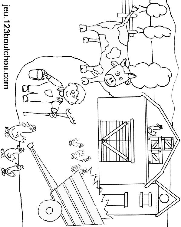 Ferme - Coloriage de fermier ...