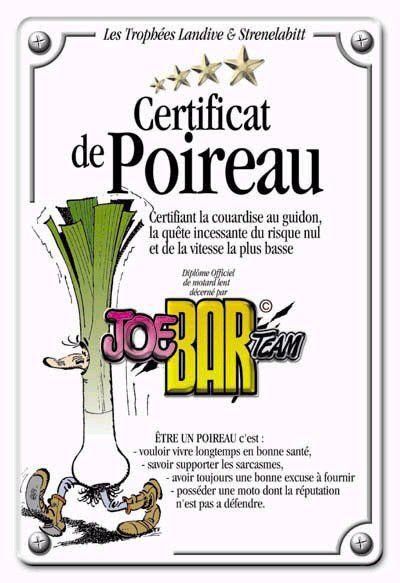 CERTIFICAT DE POIREAU